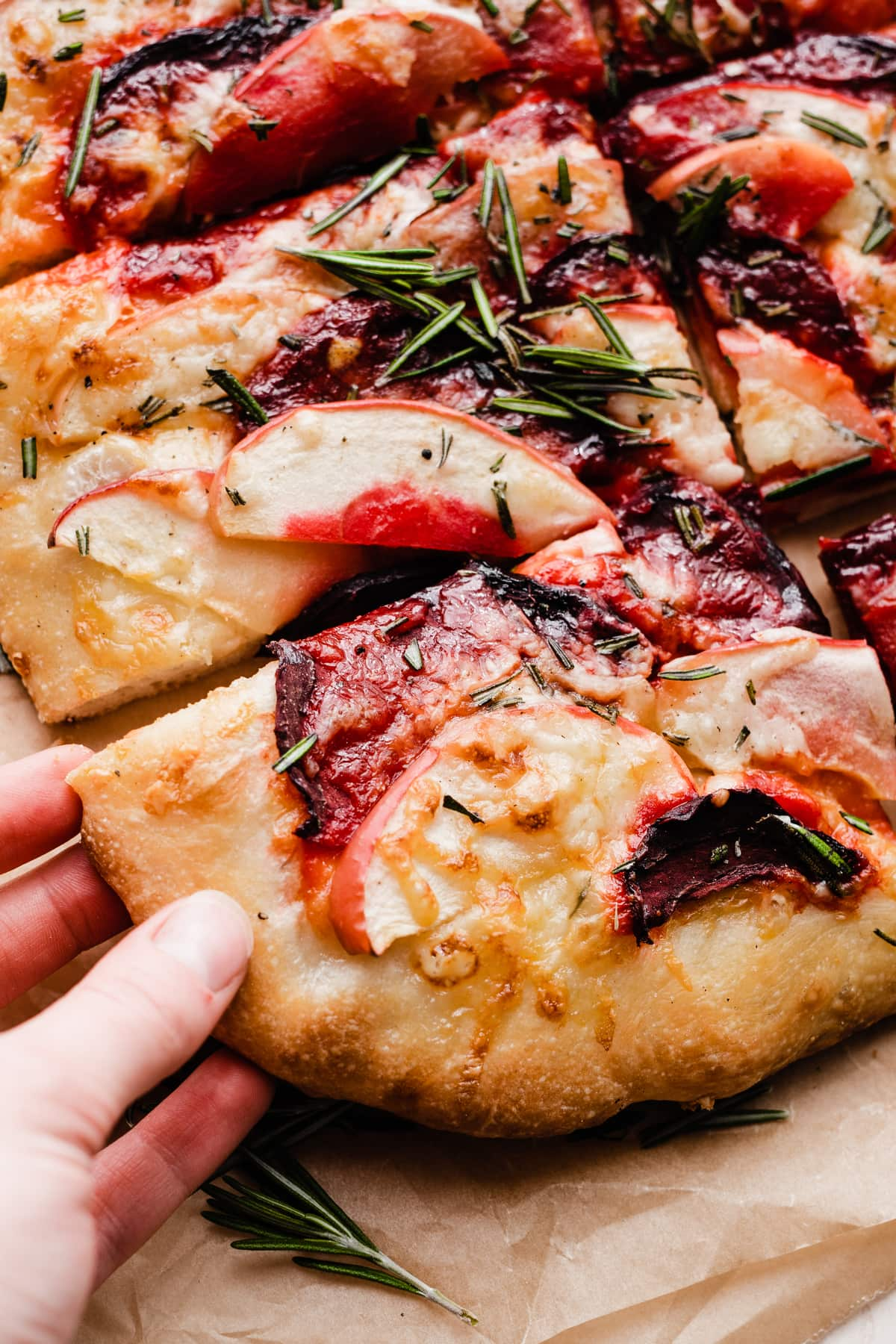 Cheddar Apple Beet Pizza with Rosemary