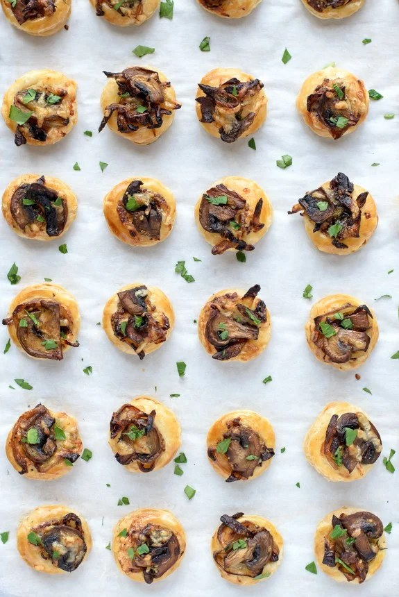 Cheesy Mushroom Caramelized Onion Puff Pastry Bites