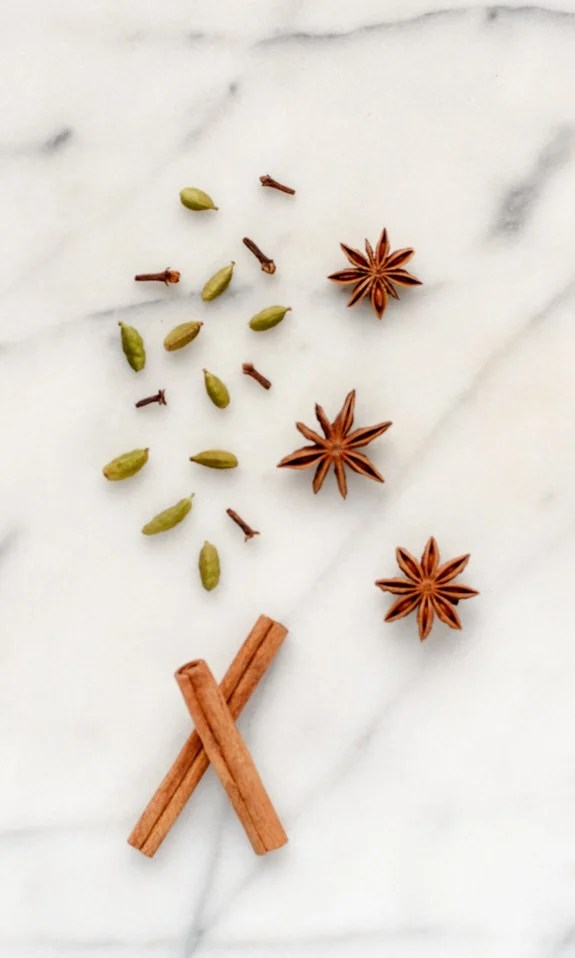 Star anise, cinnamon sticks, clove, and cardamom pods for making spiced wine crockpot recipe