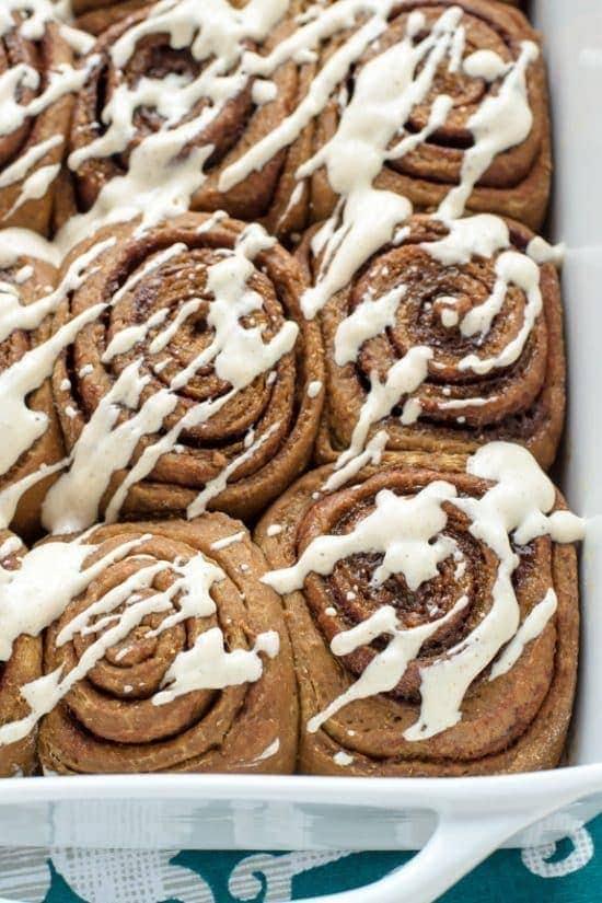 Gingerbread Cinnamon Rolls with Cinnamon Cream Cheese Frosting