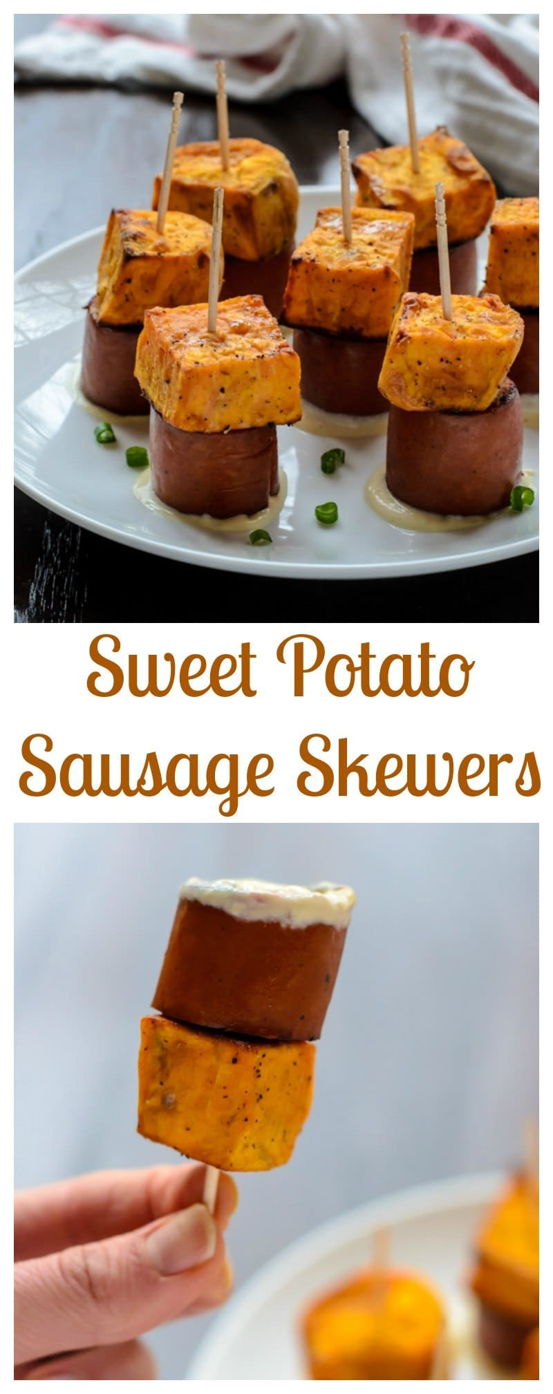Maple Sweet Potato Sausage Skewers. The perfect easy appetizer for game day and tailgates!