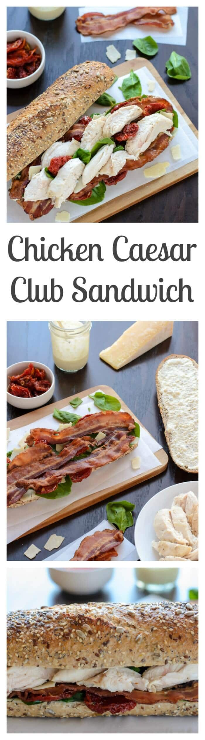 Chicken Caesar Club Sandwich with Bacon