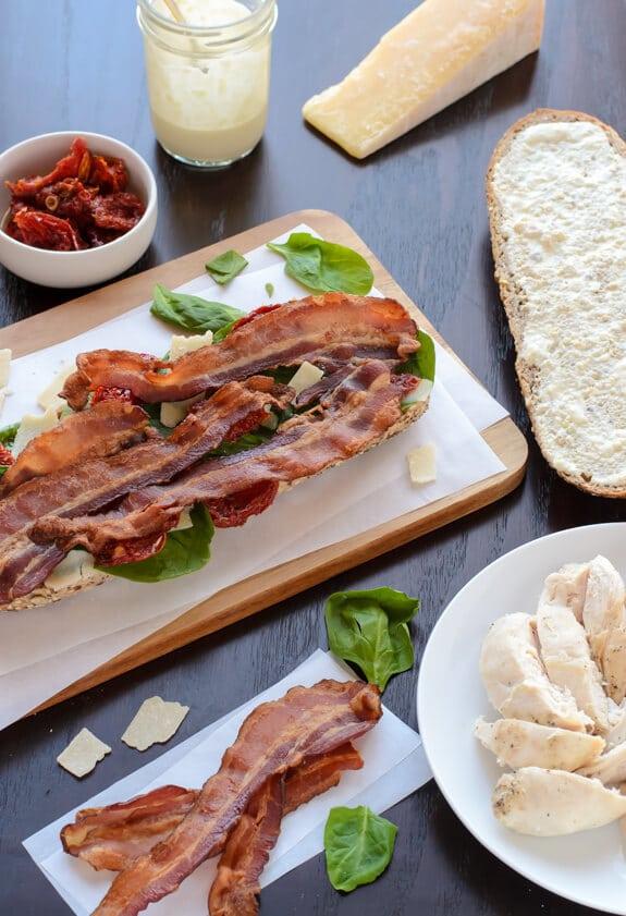 Chicken Caesar Sandwiches with Bacon