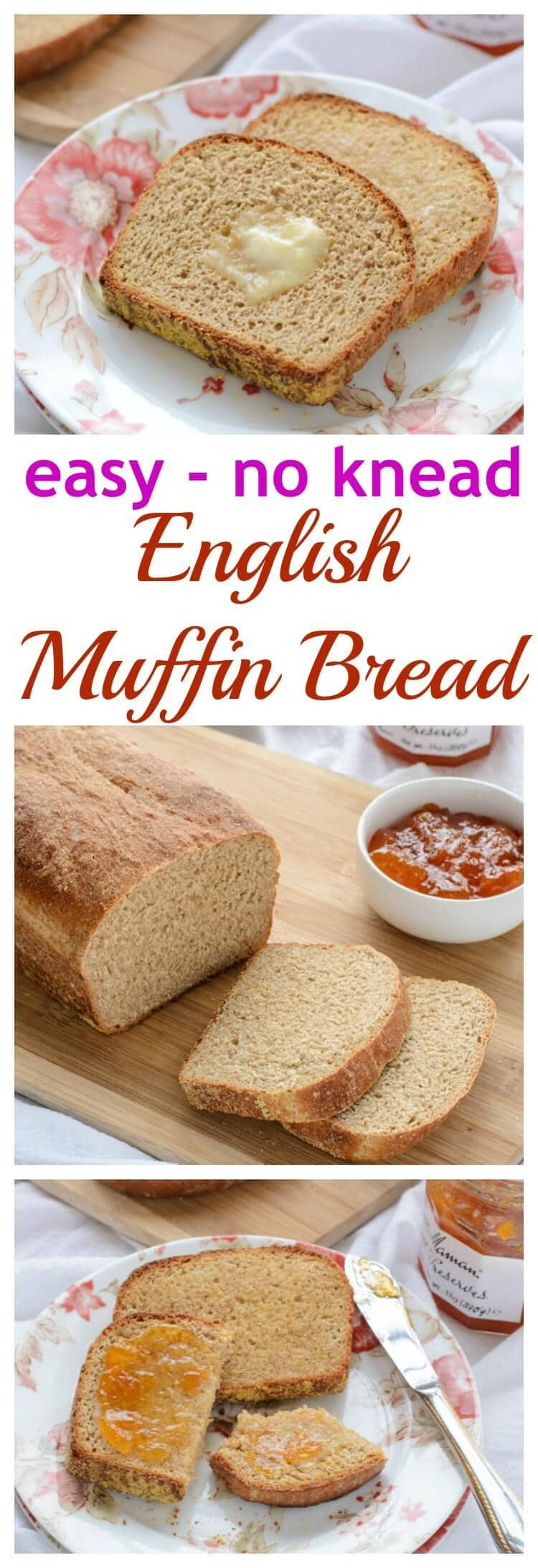 How to make bread that tastes just like an English muffin but is so much quicker and easier! This recipe uses whole-wheat flour, and there is absolutely no kneading. Perfect for even beginning bread bakers!