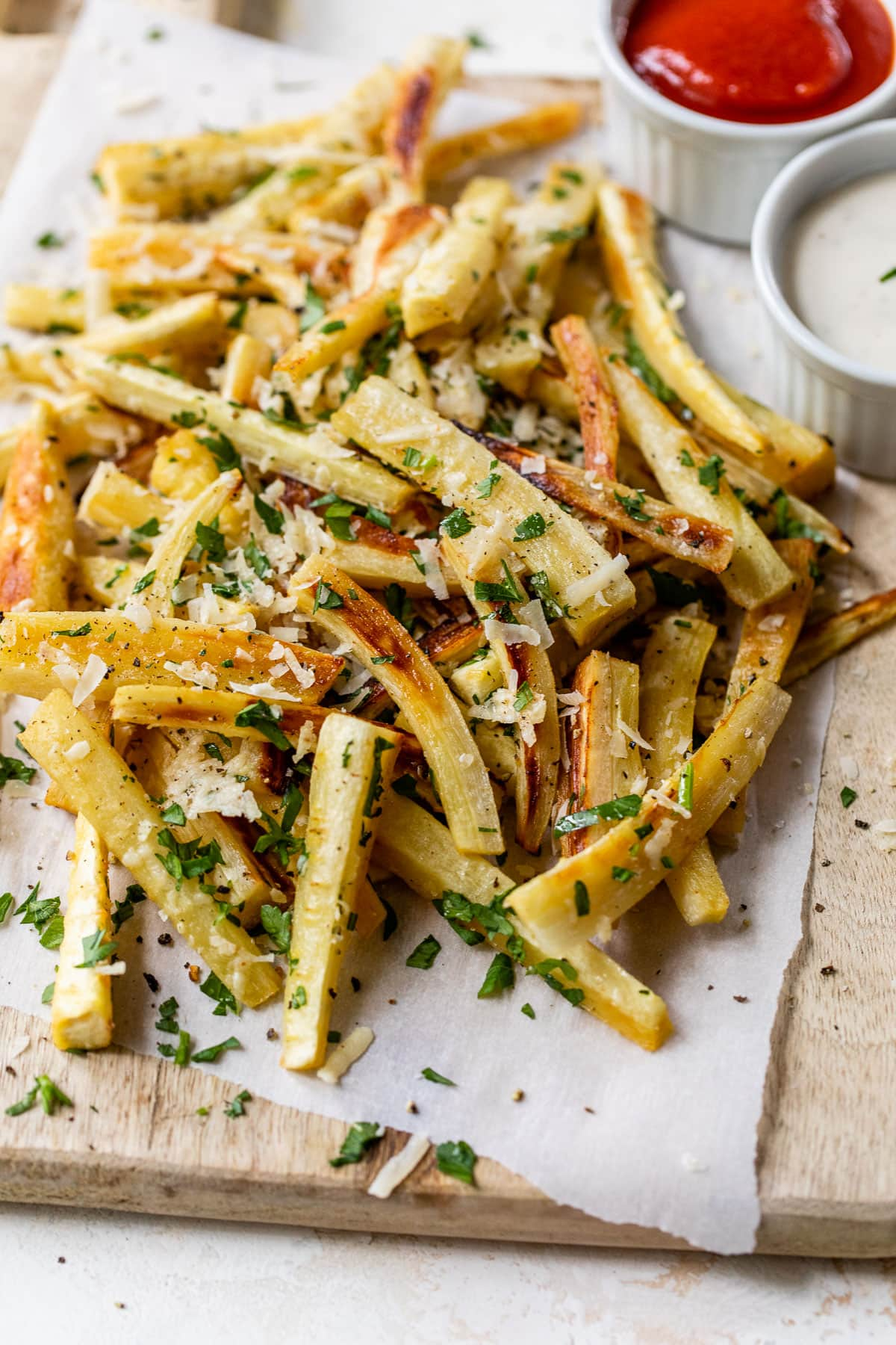 Parsnip Fries with Parsley and Parmesan