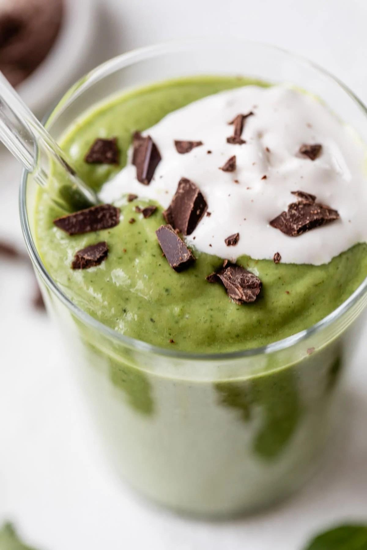 healthy homemade Shamrock Shakes made with frozen bananas, avocado, and fresh mint
