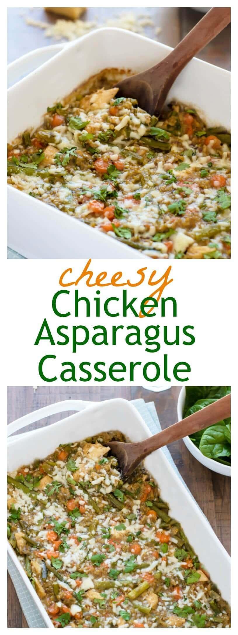 Cheesy Chicken Asparagus Casserole. Healthy and freezer friendly!