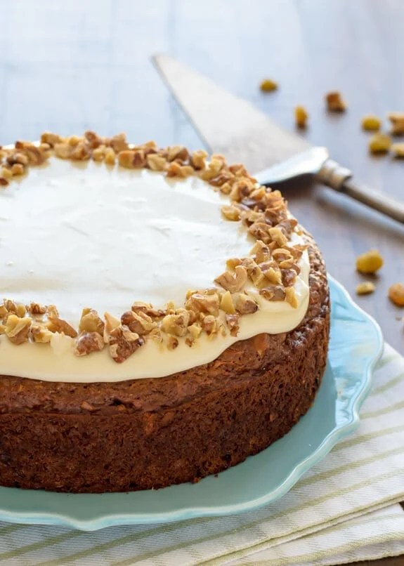 Healthy Carrot Cake with Greek Yogurt Cream Cheese Frosting. So moist and delicious!