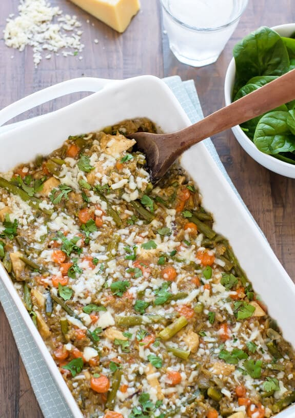 Healthy Cheesy Chicken Asparagus Casserole