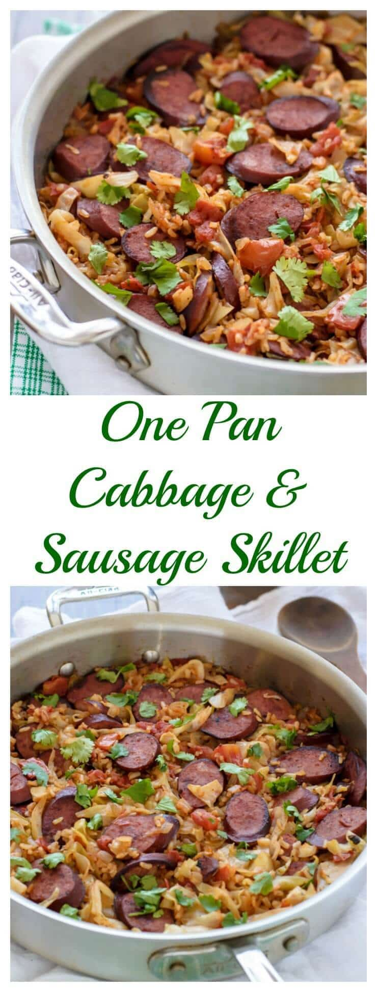 One Pan Cabbage and Sausage Skillet. Easy, healthy, only one dish! #stpatricksday