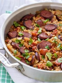 One Skillet Cabbage and Sausage with Rice