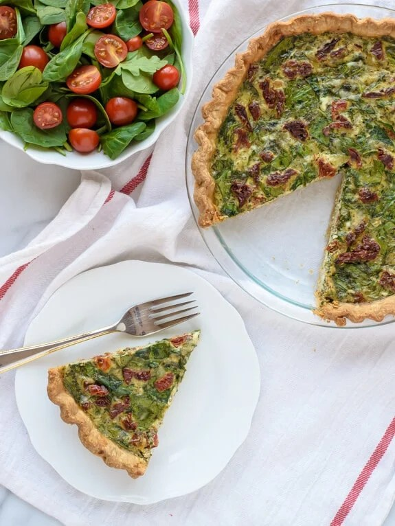 Pesto Quiche with Parmesan and Sundried Tomatoes