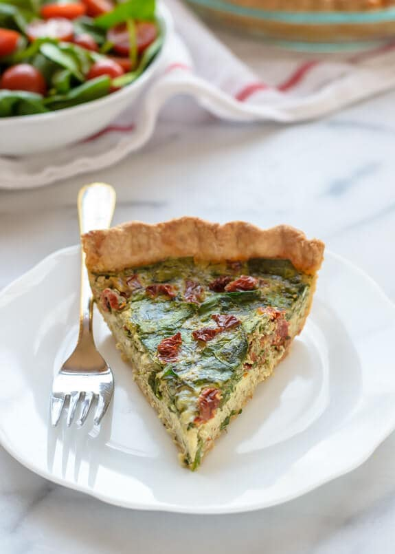 Pesto Quiche with Sundried Tomatoes and Parmesan