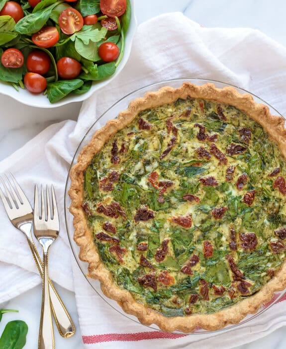 Pesto Quiche with Sundried Tomatoes and Spinach