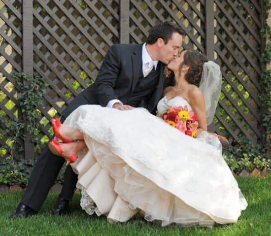 Wedding photo outside on chair
