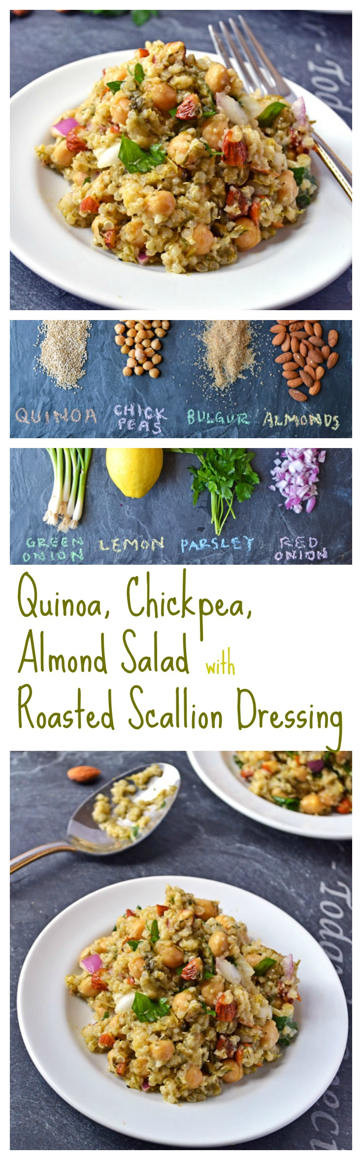 Quinoa, Chickpea, Almond Salad with Roasted Scallion Dressing // Well-Plated
