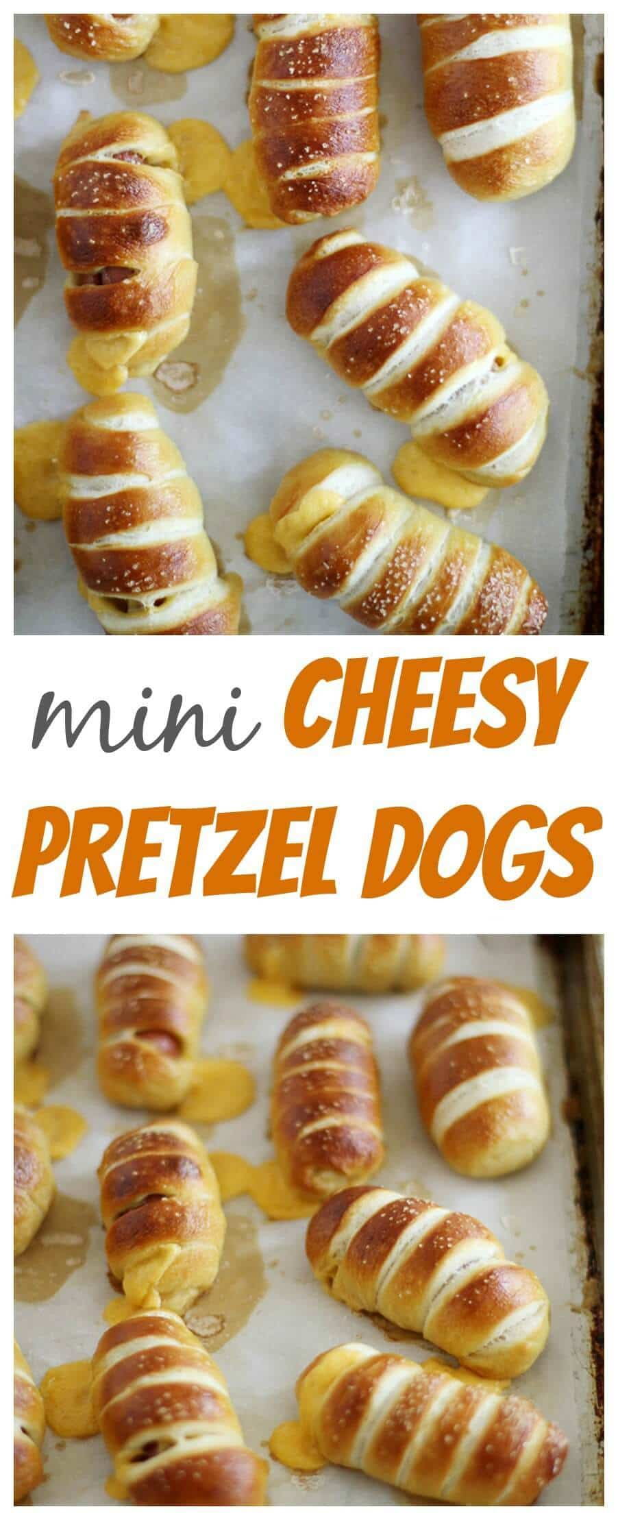 Mini Cheesy Pretzel Dogs. Bite sized hotdogs wrapped in soft pretzels and stuffed with cheese. WOW!