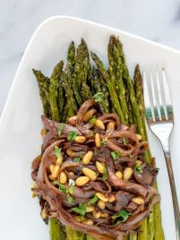 Roasted Asparagus with Carmelized Onions and Pinenuts