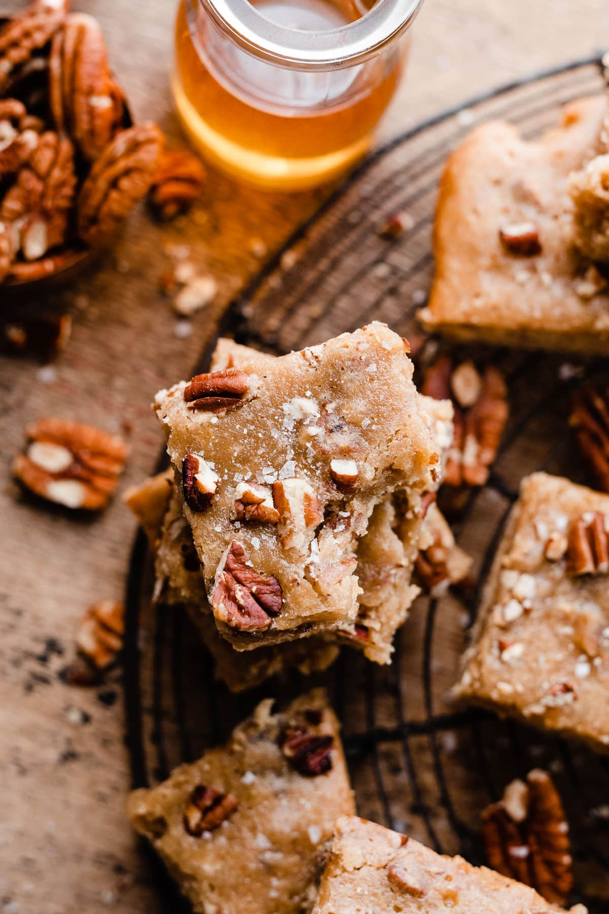 The best pecan blondies made with honey!