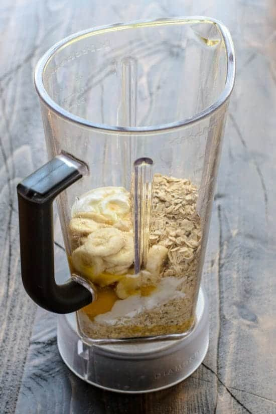 Blender full of ingredients to make Banana Oatmeal Muffins
