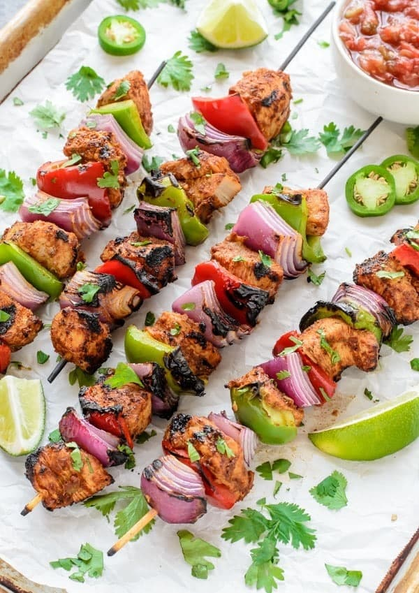 Fajita Chicken Kebab Recipe. A fast healthy dinner!
