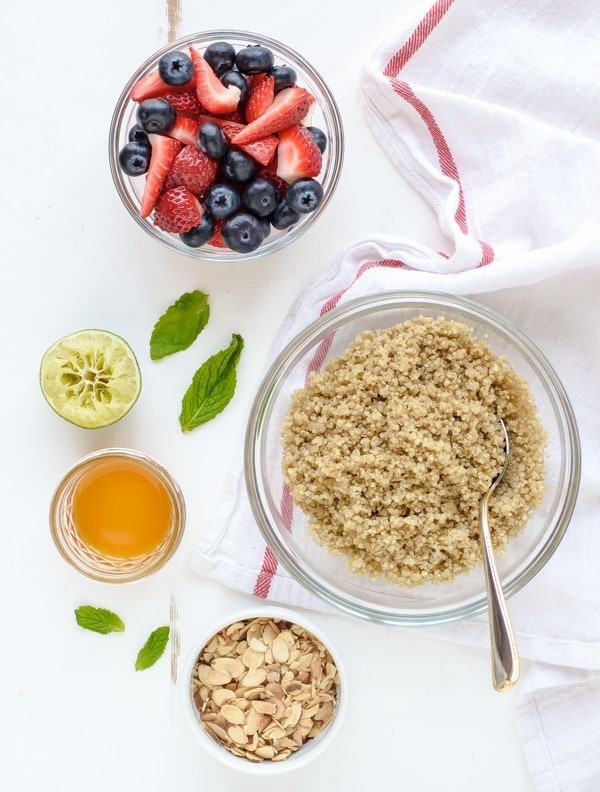 Protein packed Red White and Blue Quinoa Fruit Salad. Must make for Memorial Day and the Fourth of July