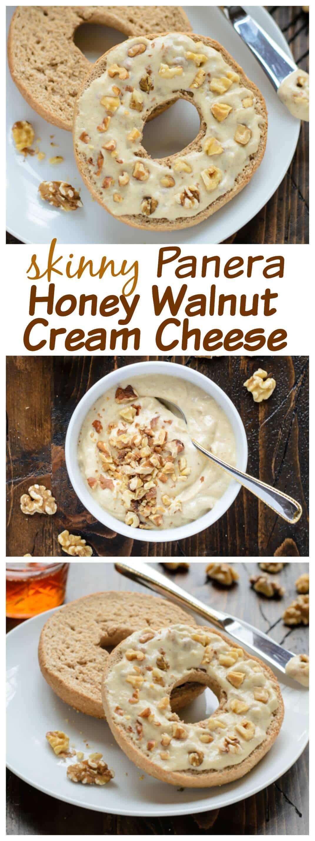 Skinny Copycat Panera Honey Walnut Cream Cheese made with tofu.