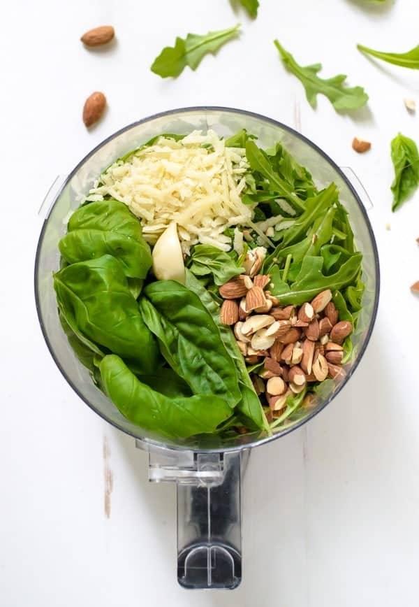 Healthy Pesto Potato Salad with fresh basil and arugula