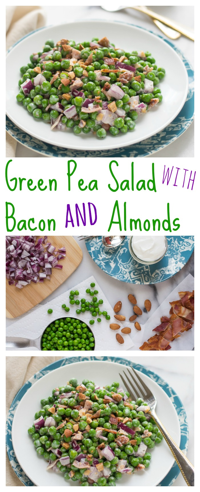 Green Pea Salad with Bacon and Almonds // Well-Plated