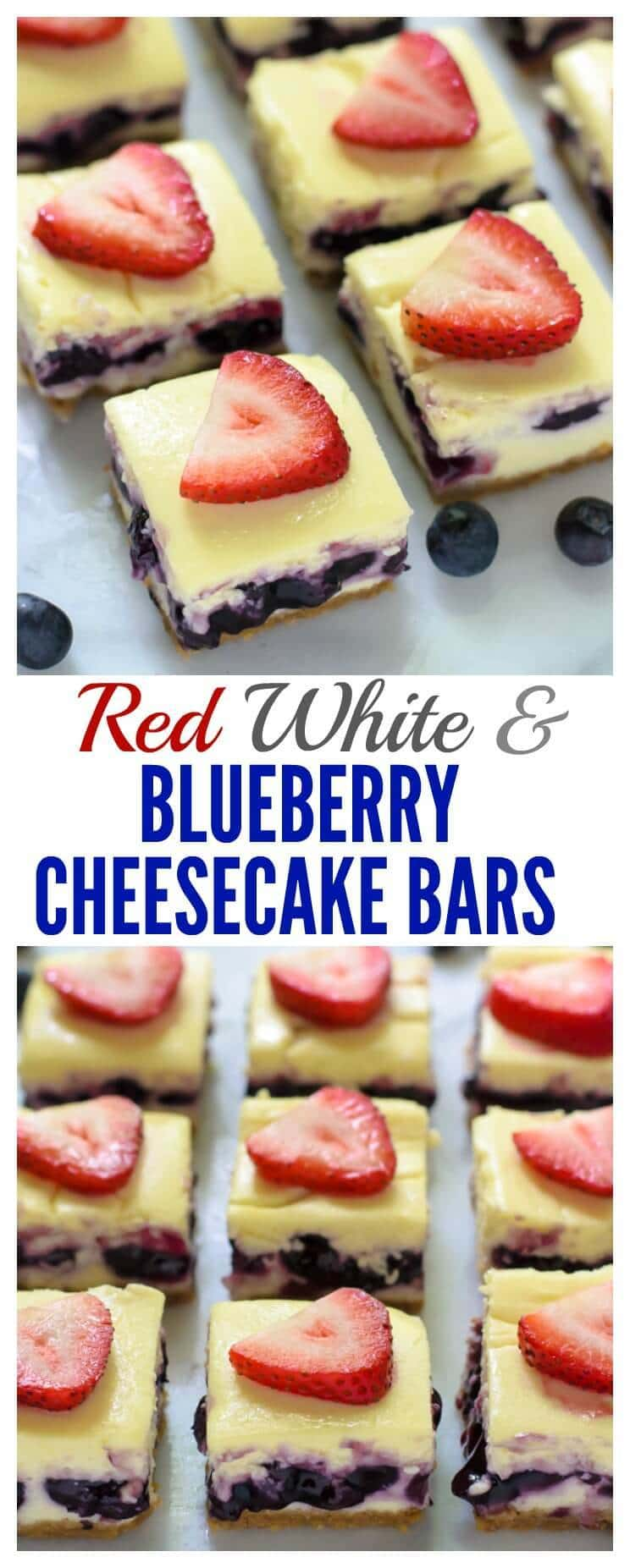 Red White and Blueberry Cheesecake Bars. The perfect red white and blue dessert for the Fourth of July!