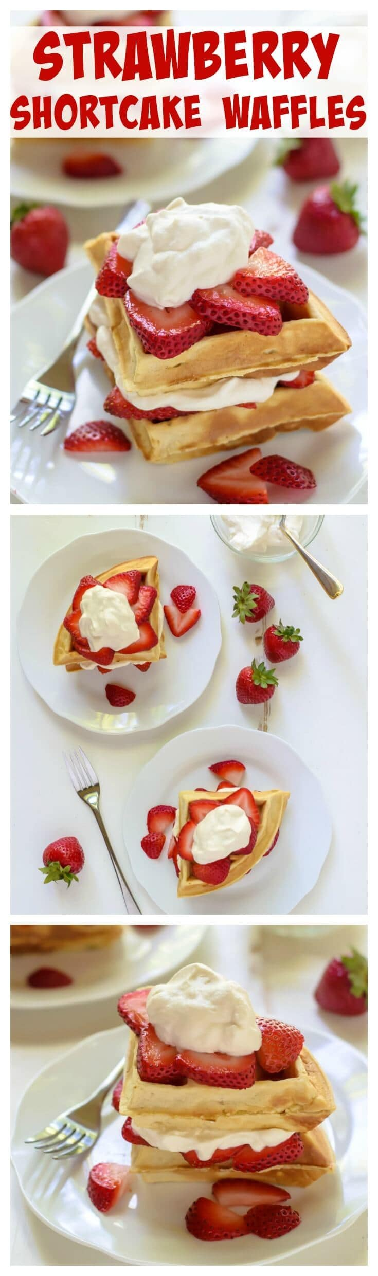 Strawberry Shortcake Waffles with Maple Whipped Cream