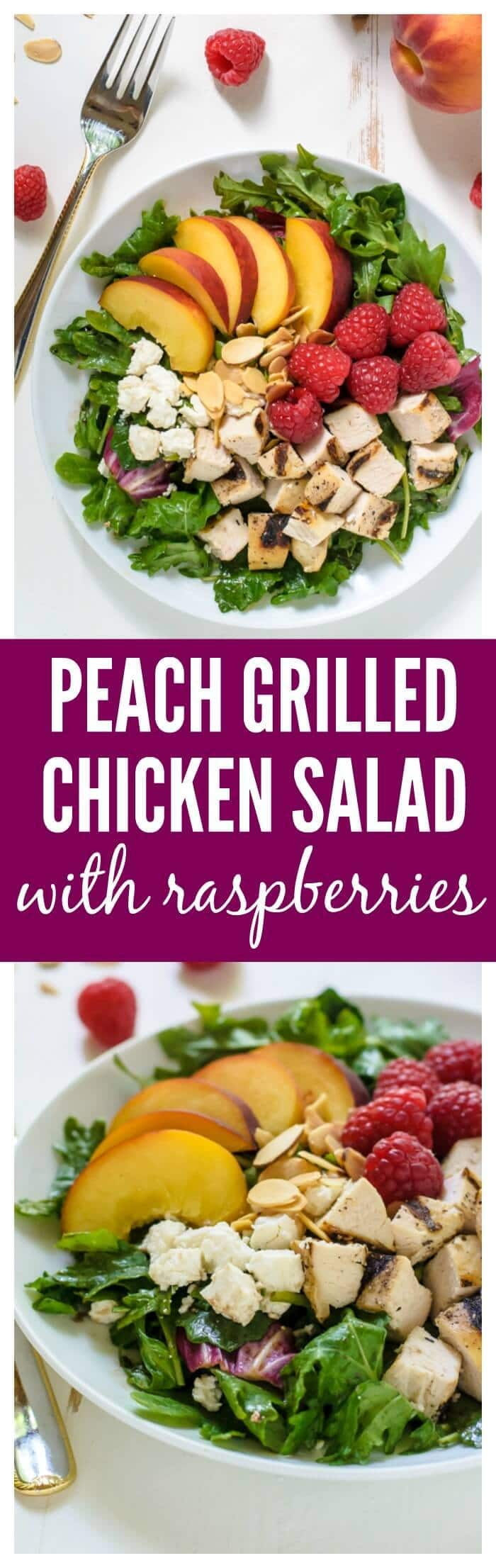 Peach Salad with Grilled Chicken, Raspberries, and Honey Balsamic Vinaigrette