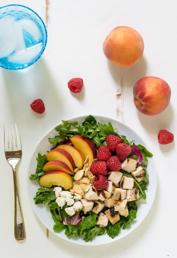 Summer Peach Salad with Rapsberries and Grilled Chicken
