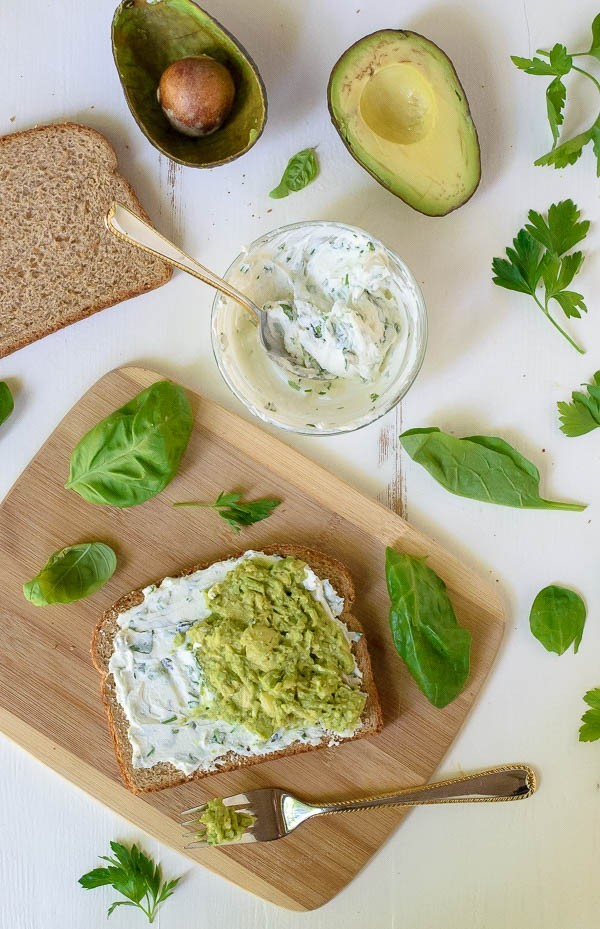 Avocado Grilled Cheese with Goat Cheese and Garlic