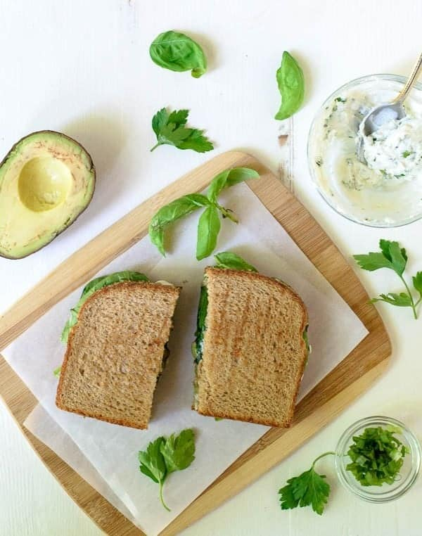 Avocado Grilled Cheese with Herbed Goat Cheese and Garlic