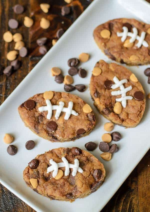 Football Peanut Butter Blondies with Chocolate Chips. So cute for every football party and tailgate! Saving the recipe for the Super Bowl too