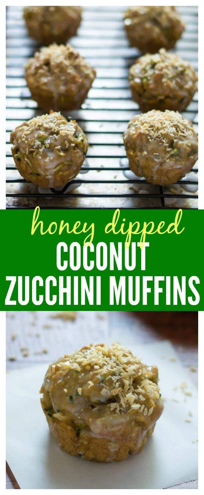 Healthy Coconut Zucchini Muffins made with coconut oil and dipped in a honey glaze
