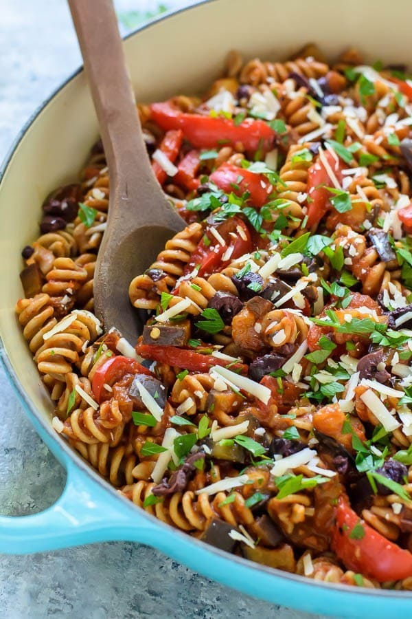 Mediterranean Eggplant Pasta. A light and healthy 30 minute meal!