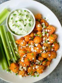 Baked Cauliflower Buffalo Wings with Creamy Blue Cheese Avocado Dip