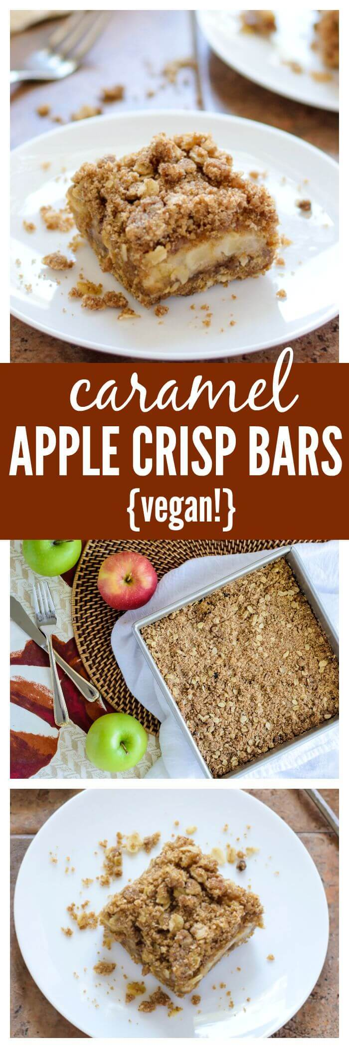 Caramel Apple Crisp Bars. Ooey gooey caramel apple bars with cinnamon streusel topping and crust. A healthy vegan recipe that tastes completely decadent! #apple #vegan