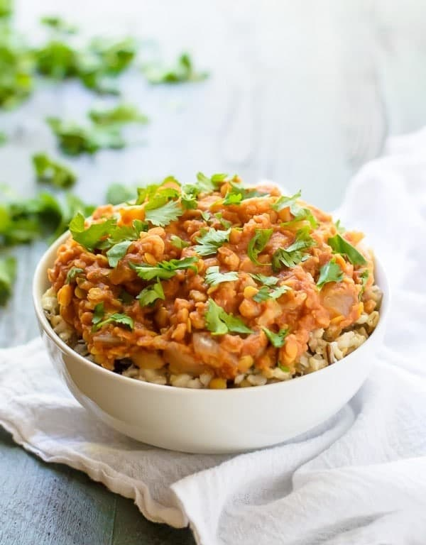 bowl of low carb lentil and cauliflower curry, made in a slow cooker