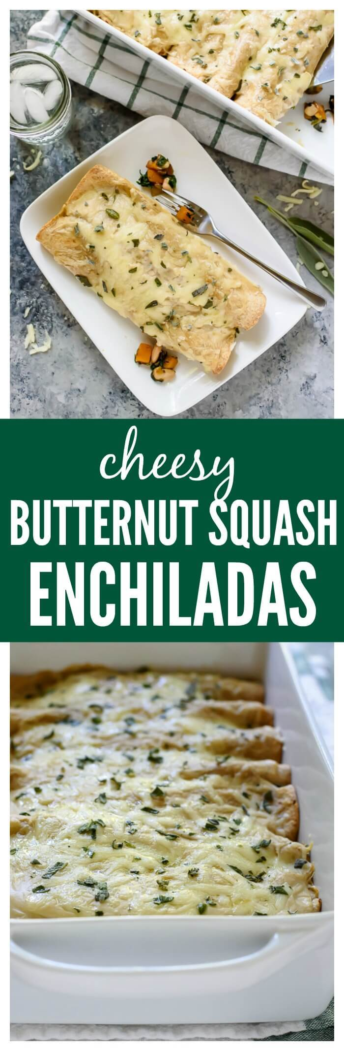 Cheesy Butternut Squash Enchiladas with Spinach and White Beans. AMAZING flavor, healthy, and freezer friendly!