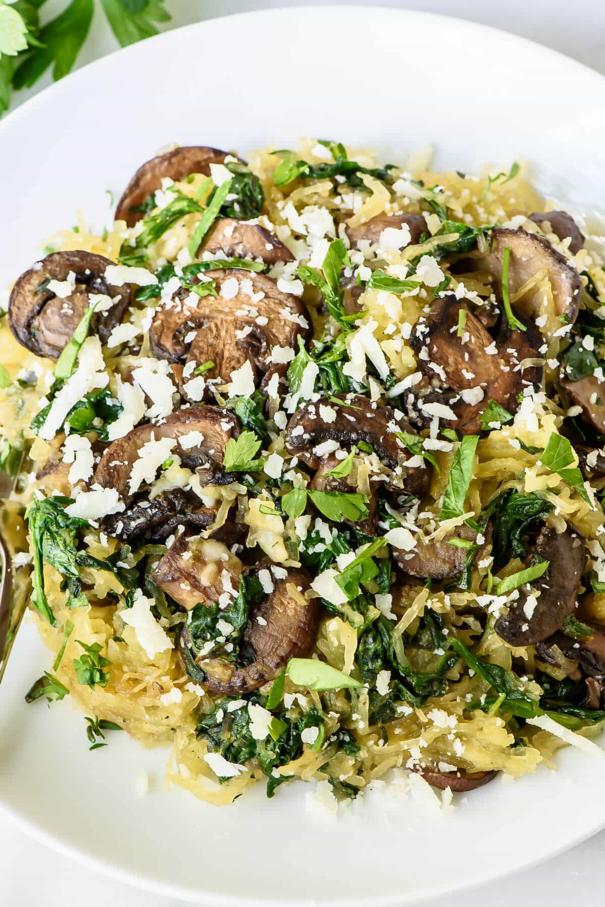Garlic Roasted Spaghetti Squash with Parmesan and Mushrooms. An easy, healthy vegetarian dinner recipe. Healthy and gluten free!