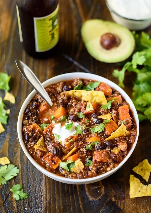 white bowl of slow cooker Turkey Quinoa Chili with Sweet Potatoes and Black Beans