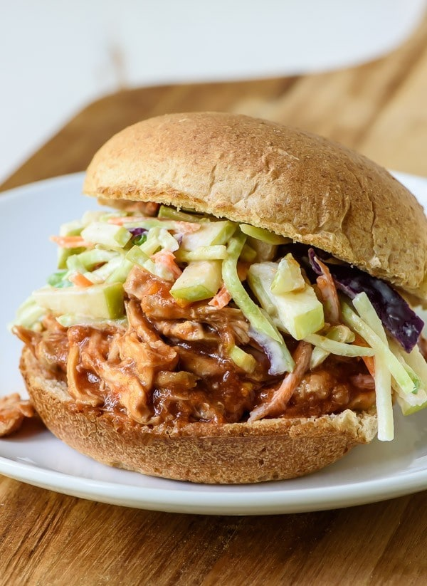 maple bourbon bbq chicken sandwich, with shredded barbecue chicken made in a slow cooker