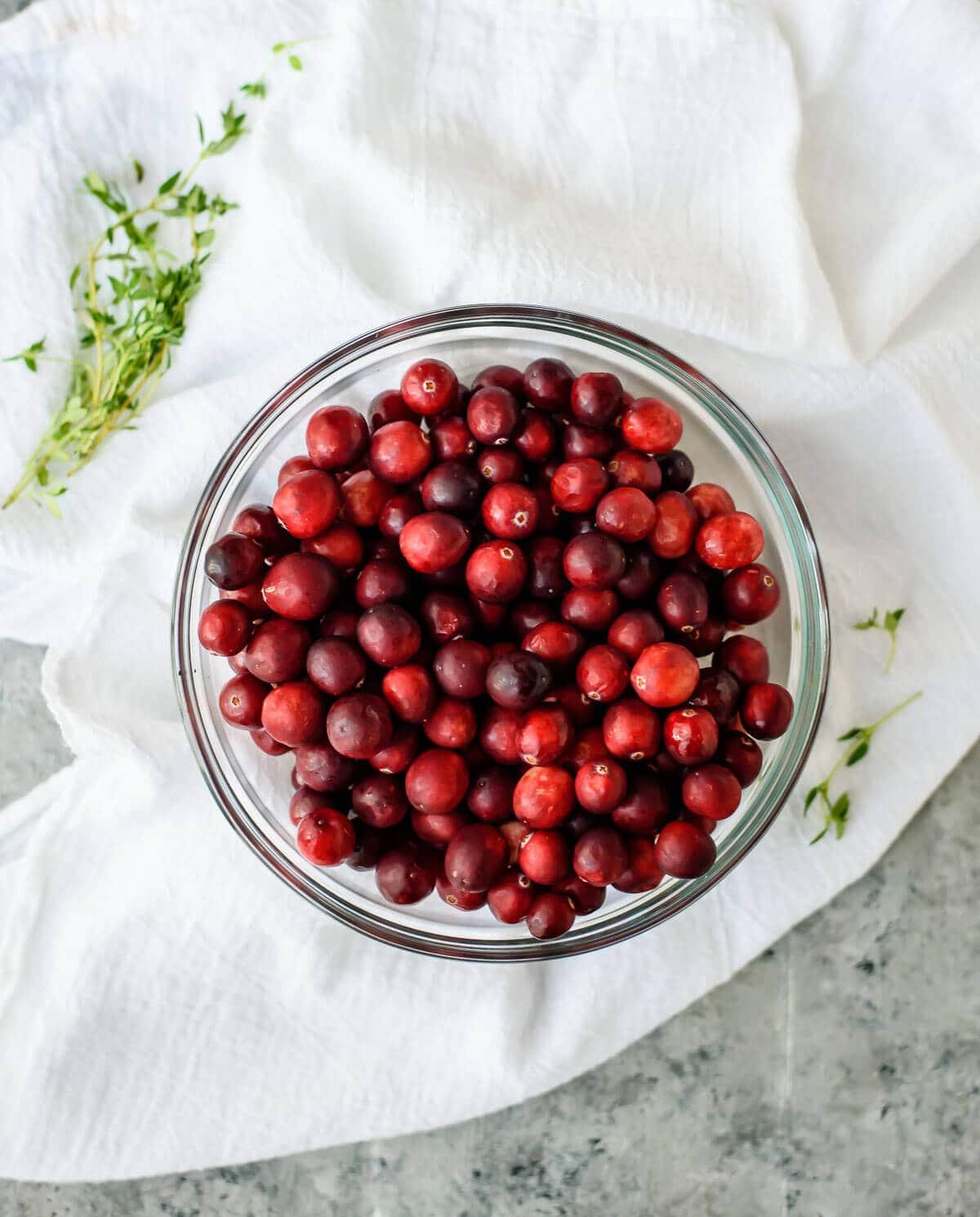 bowl of fresh Wisconsin cranberries