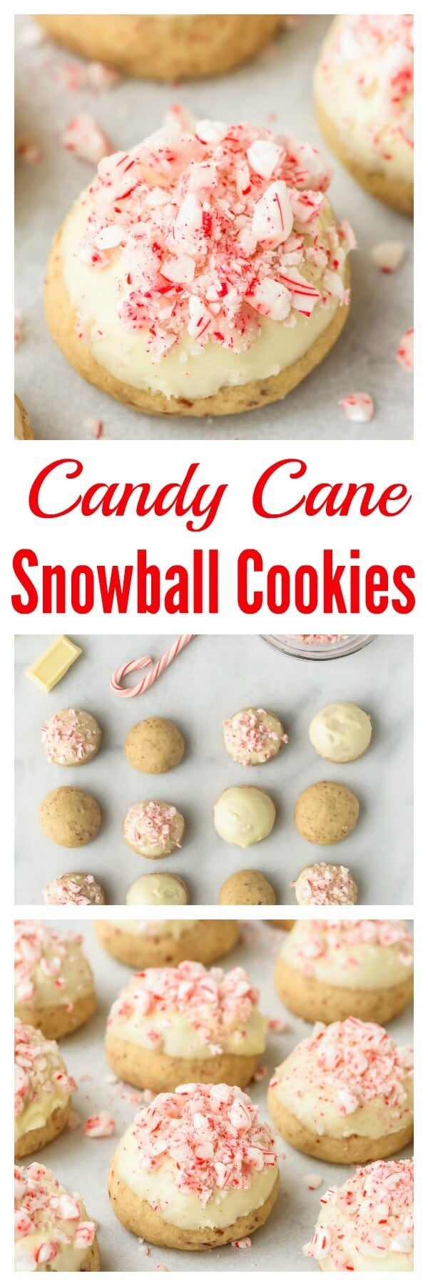 Candy Cane Snowball Cookies