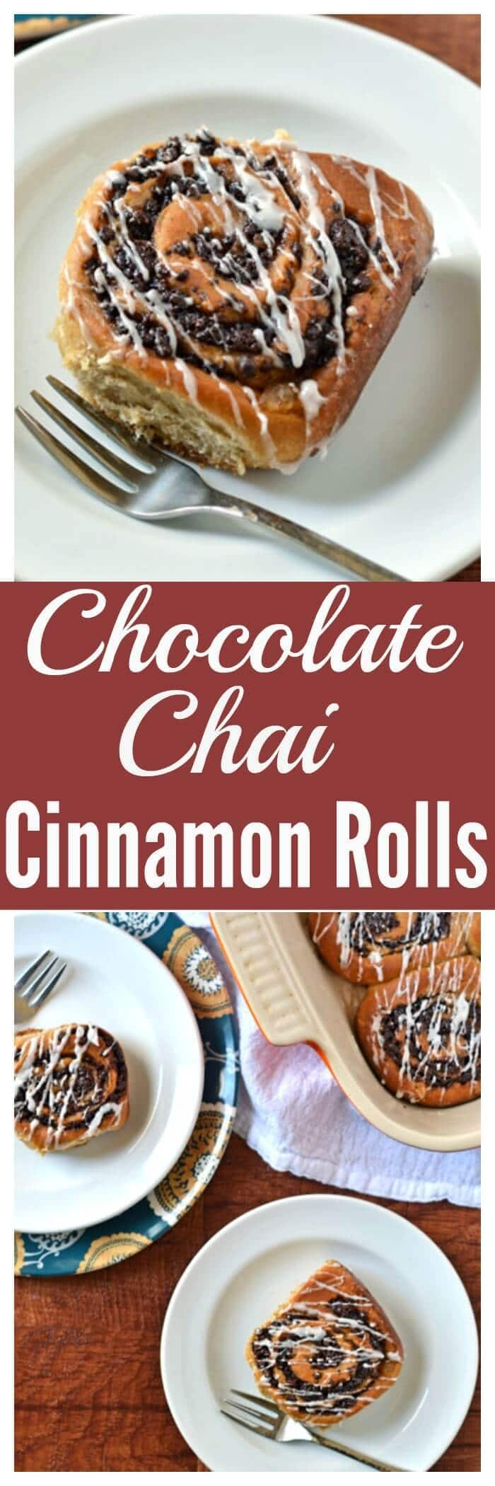 CChocolate Chai Cinnamon Rolls. Fluffy, buttery dough wrapped around a dark chocolate filling with warm chai spices like cinnamon and cardamom. Soft, gooey, and every bite has chocolate!