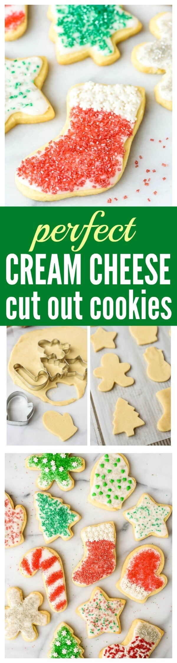 The BEST Cut Out Sugar Cookies from scratch, with step-by-step photos. Cream cheese is the secret ingredient that makes the sugar cookies super soft, even days after they are baked. This is the only cut out Christmas cookie recipe you will ever need!