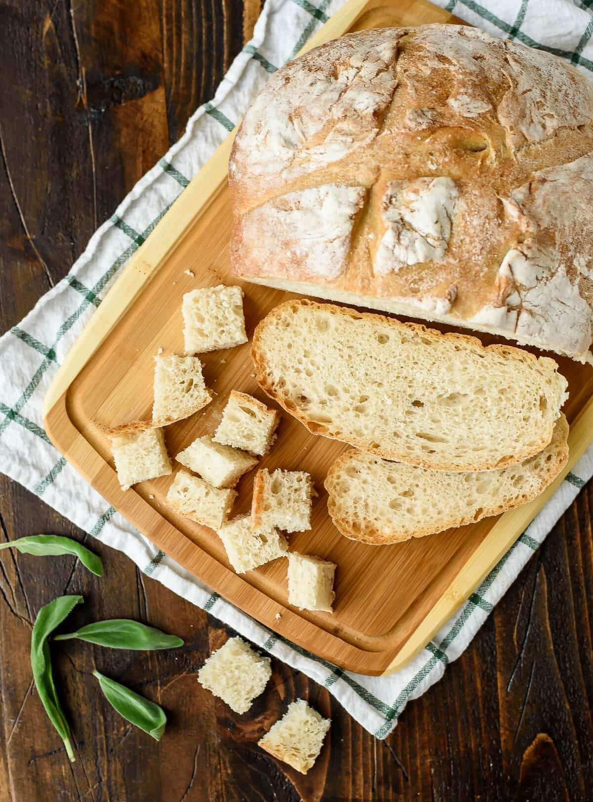 Crusty loaf of artisan bread for making Parmesan croutons